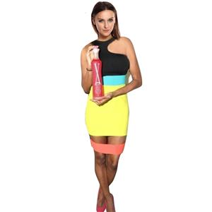 Body Glam Cutout Dress, Colorful Bodyco, Yellow Color Block Dress, #N6804