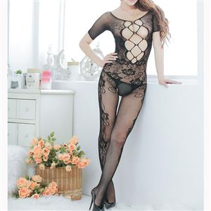 Sexy Womens Bodysuit Lingerie, Black Hollow Out See-through Bodystocking, Short Sleeve See-through Bodystocking Lingerie, Sexy Hollow Out Bodysuit Lingerie, Sheer Hollow Out Crotchless Bodystocking, Sexy Open Crotch Bodystocking Lingerie, #BS16659