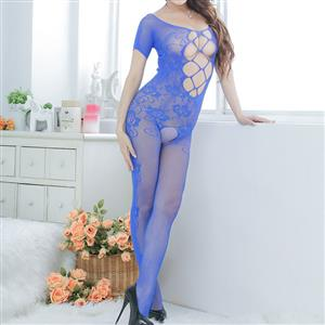 Sexy Womens Bodysuit Lingerie, Blue Hollow Out See-through Bodystocking, Short Sleeve See-through Bodystocking Lingerie, Sexy Hollow Out Bodysuit Lingerie, Sheer Hollow Out Crotchless Bodystocking, Sexy Open Crotch Bodystocking Lingerie, #BS16663