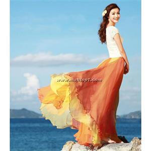 Wrapped Chest Contrast Color Tent Dress, Giant Swing Split Joint Maxi Boho Skirt, Strapless Two Dressing Ways Dresses, #N9066