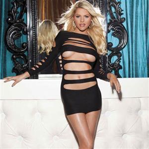 Black Minidress, Both sides usable minidress, Bold cut dress, #N6806