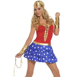 Adult Wonder Woman Costume, Super Heroine Costume, Sexy Wonder Girl Costume, #M3165