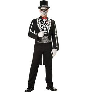 Day of the Dead Groom Costume, Deluxe Skeleton Groom Costume, Bone Yard Ghost Groom Costume, #N9131