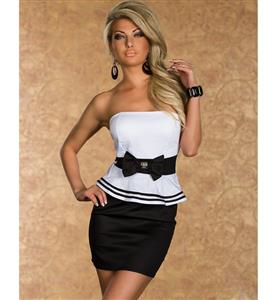 Black and White Off The Shoulder Dress, Strapless Striped Peplum Dress, Wrapped Chest Party Dress, #N8787