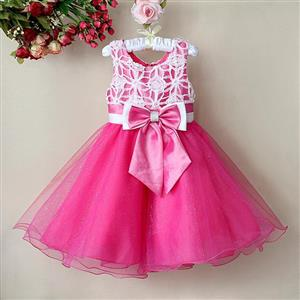 Rose and White Birthday Girl Dress, Sleeveless Applique Work Princess Girl Dress, Mesh and Satin Occasion Dress, #N9113
