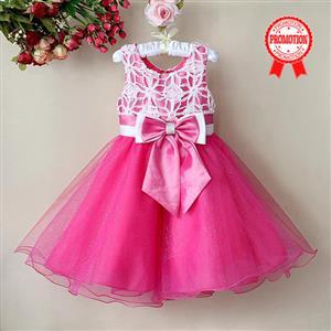 Rose and White Birthday Girl Dress, Sleeveless Applique Work Princess Girl Dress, Mesh and Satin Occasion Dress, #N9113
