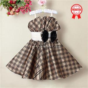 Brown Plaid Pageant Dress, Spaghetti Straps Plaid Princess Dress, Sleeveless Bowknot Embellish Girl Dress, #N9120
