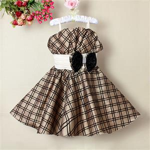 Brown Plaid Pageant Dress, Spaghetti Straps Plaid Princess Dress, Sleeveless Bowknot Embellish Girl Dress, #N9120