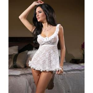 Coquette Stretch Lace Babydoll, White Lace Babydoll, Bridal Lace Babydoll Set, #N6664