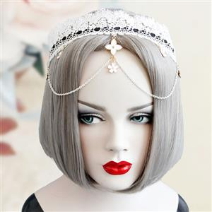 Hairbands for Girls, Ladies Hair Band, White Lace Hari Clasp, Hair Band, Hair Hoops for Party, #J12917