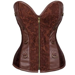 Steampunk Jacquard& Faux Leather Overbust Corset N12406