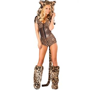 Sexy Wild Adult Fluffy V-neck Leopard Inregular Short Sleeves Costume with Tail and Leggings N9133