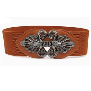 Brown Wasit Belt, High Waist Cinch Belt, Interlock Buckle Elastic Wasit Belt, Wide Waist Cincher Belt Brown, Elastic Wide Waistband Cinch Belt, Elastic Waist Belt for Women, #N18254