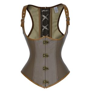 Punk Steel Boned Corset, Sexy Brown Underbust Corset, Cheap Steal Boned Corset, Hot Sale Clasp Closure Underbust Corset, #N18021