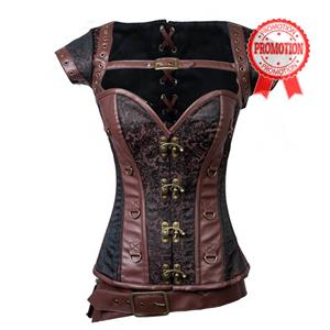Plus Size Corset, Punk Steel Boned Corset, Vintage Brown Jacquard Outerwear Corset, Halloween Corset, Retro Brown Corset with Jacket, #N10904