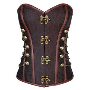 Hot Sale Steel Boned Corset, Sexy Brown Overbust Corset, Cheap Jacquard Corset, Punk Outerwear Corset, #N10826