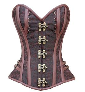 Brown Jacquard Weave Corse, Steampunk Brown Steel Bone Corset, Gothic Brocade Overbust Corset, Faux Leather and Brocade Overbust Corset, Cheap Outwear Corset,  #N10067