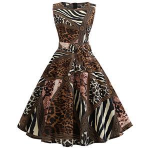Vintage Dresses for Women, Cocktail Party Dress, Vintage Sleeveless Tank Dresses, A-line Cocktail Party Swing Dresses, Print Vintage Dress, Round Neck Vintage Day Dress, #N18821