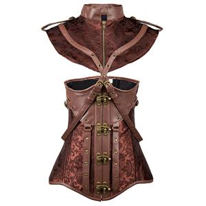 Steampunk Brown Underbust Corset, Sexy Steel Boned Corset, Hot Sale Brocade Corset with Jacket, Women
