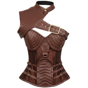 Steampunk Brown Steel Boned One-shoulder Leather Spiral Stripe Shape Corset N12010