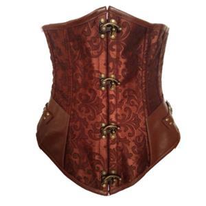 Brown Steampunk Underbust, A gothic underbust corset, Brocade Long Line Steampunk Underbust, #N6337