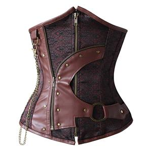 Punk Style Brown Steel Boned Corset, Cheap Waist Cincher Underbust Corset, Fashion Brocade Underbust Corset, Women