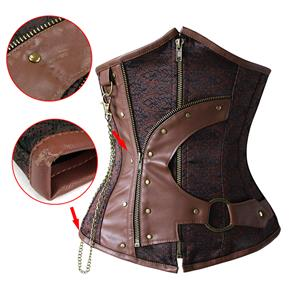 Steampunk Brown PU Leather Steel Boned Waist Cincher Underbust Corset with a Little Defect N20173