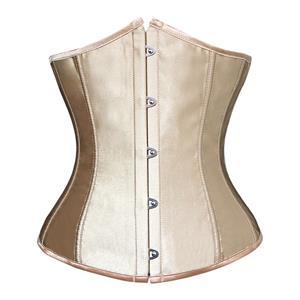 sexy gold underbust corset, brown satin underbust corset, underbust corset bustier, #N5514
