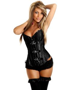Black Embroidered Strapless Corset, Embroidered Corset, Buckle Brocade Corset, #M4946