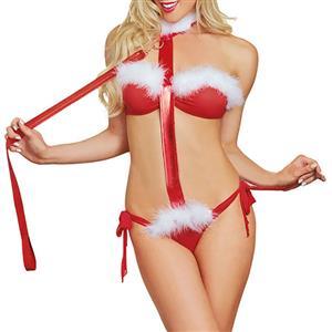 Sexy Bundled Three-Point Lingerie Set, Sexy Red Halter Bundled Lingerie Set, Christmas Women Prisoner Cosplay Costume, Valentine