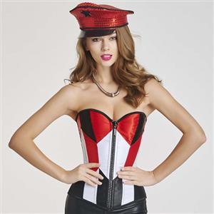 Burlesque Fashion Zipper Overbust Corset Party Bustier Top N11188