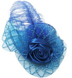 Blue Rose Mini Hat, Sequin Rose Mini Top Hat, Glitter Mini Top Hat, #J8148