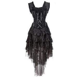 Burlesque Queen Costume, Gothic Halloween Corset Dress, Burlesque Halloween Costume for Women, Black Lace Boned Corset Dress, One-piece Burlesque Corset Dress, #N11586