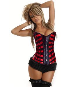 red corset, Burlesque Ribbons Corset, Overbust Corset, #N1304