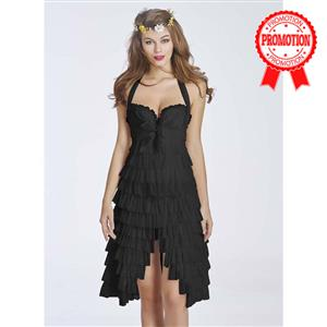 Black Corset Fancy Dress Costume, Ladies Sexy Burlesque Dress Corset, Women