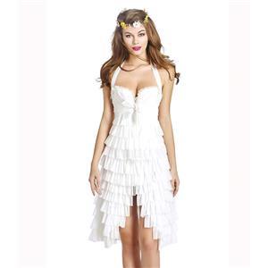 Burlesque Sexy White Halter Ruffles Tutu Corset Dress N11198