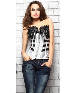 Burlesque Tuxedo Corset, Strapless corset, Tuxedo Corset, #N4884