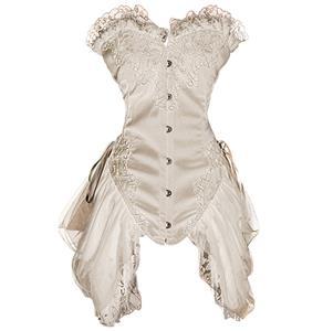 Burlesque Black Bustier, Corset style dress, White Bustier Dress, #N6315