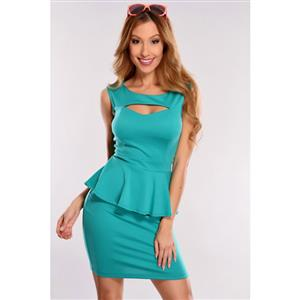 Turquoise Falbala Business Peplum Dress, Scoop Neck Peplum Office Wear, Cut Out Chest Peplum Dress, #N8674