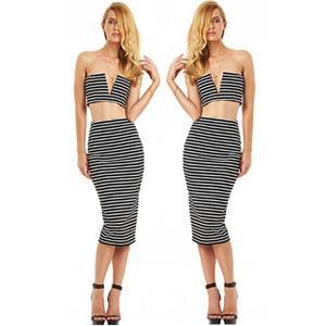 Bustier Stripe Two Piece, Stripe Top & Skirt, Stripe Skirt Set, #N8584