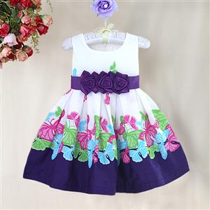 Butterfly Print Pleated Girls Dress, Whirte and Purple Floral with Big Bow Dress, Butterfly Pattern Paty Princess Dress, #N9009