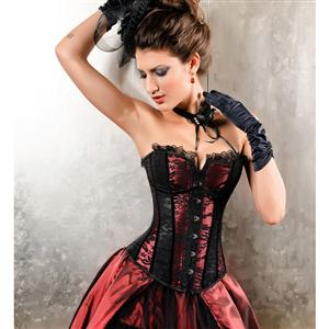 Can Can Black and Red Corset N5196