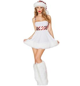 Ladies Lollipop Christmas Dress Costume, Mrs Santa Clause Costume, Faux Fur Christmas Costume, Xmas Costume, #XT10929
