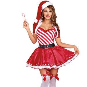 Candy Cane Cutie Costume Costume, Mrs Santa Clause Costume, Miss Santa Costume, Xmas Costume, Santa Girl Costume, Sexy Christmas Mini Dress, #XT12251