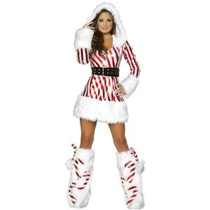 Candy Cane Hooded Catsuit, Mrs Santa Clause Costume, Miss Santa Costume, Xmas Costume, #XT18361