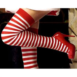 thigh highs Stockings, Nylon Striped Thigh Highs, Stockings wholesale, Striped Christmas Thigh Highs, #HG2165