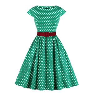 Vintage Polka Dots Bateau Neck Cap Sleeve Belted Cocktail Party A-line Dress N19625