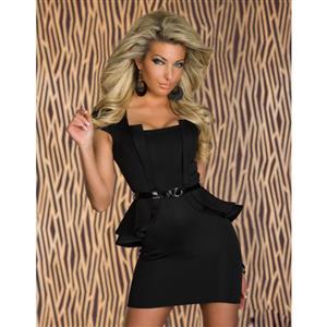 Black OL Career Work Dress, Ruffled Jacket Peplum Office Wear, Cap Sleeve Cocktail Prom Dress, #N8669