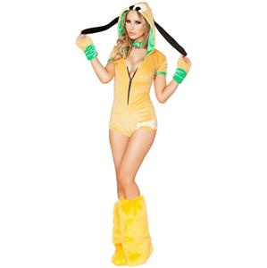 Sexy Cartoon Dog Costume, Puppy Dog Costume, Yellow Dog Costume, Sexy Dog Romper Costume, #N8641