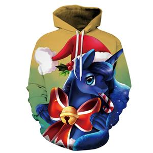 Loose Casual Hoodie, Couples Christmas Costumes, Hoodies for Women, Long Sleeve Hoodie, Lovely Christmas Costumes, 3D Digital Print Chic Ugly Christmas Hoodie, #N15115